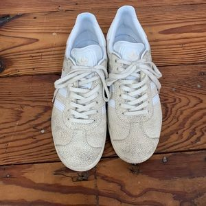 Gazelle pebbled cracked leather sneakers